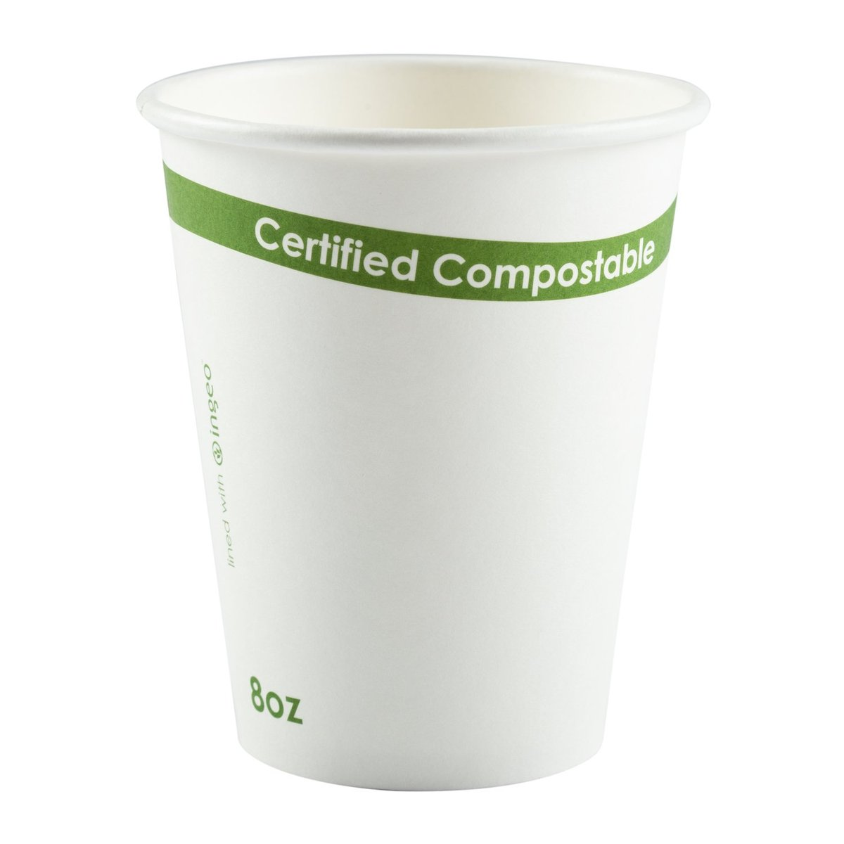 WHITE 8OZ PLA-LINED HOT CUP  1000/CASE